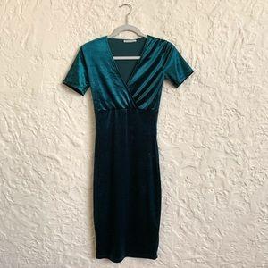 Zara Forest Green Velvet Midi Dress Sz S
